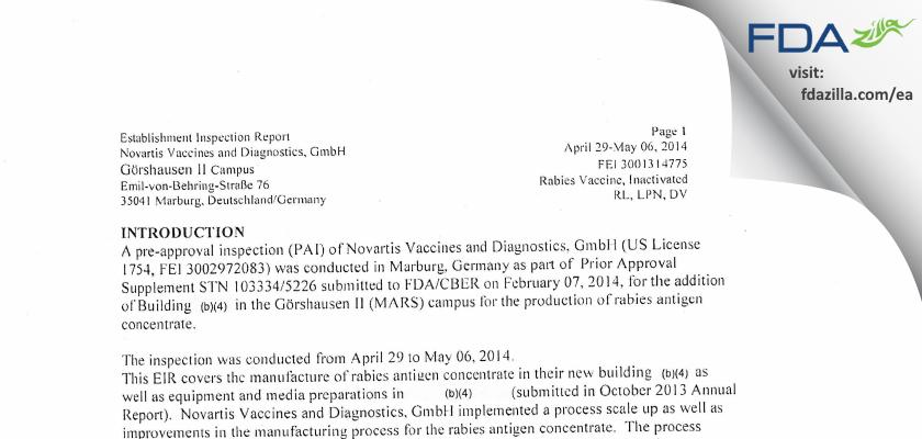 GSK Vaccines FDA inspection 483 May 2014