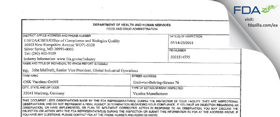 GSK Vaccines FDA inspection 483 May 2018