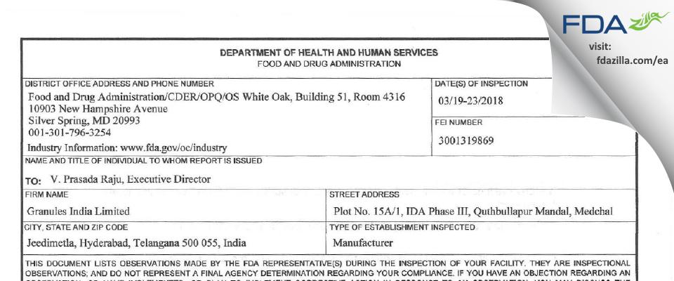 Granules India FDA inspection 483 Mar 2018