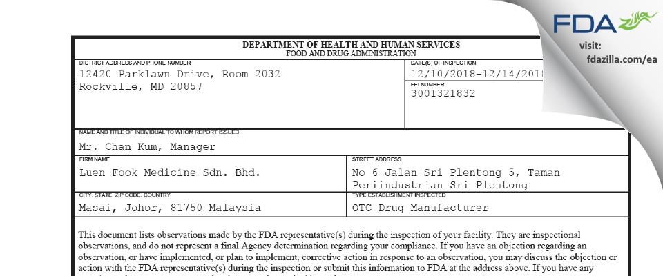 Luen Fook Medicine Sdn. Bhd. FDA inspection 483 Dec 2018