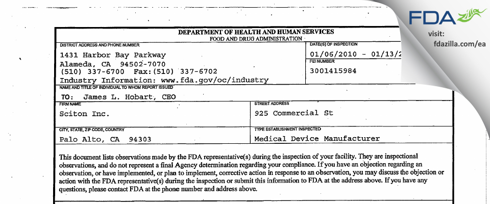 Sciton FDA inspection 483 Jan 2010