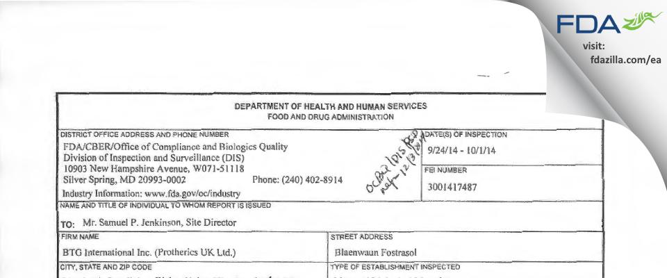 Protherics UK FDA inspection 483 Oct 2014