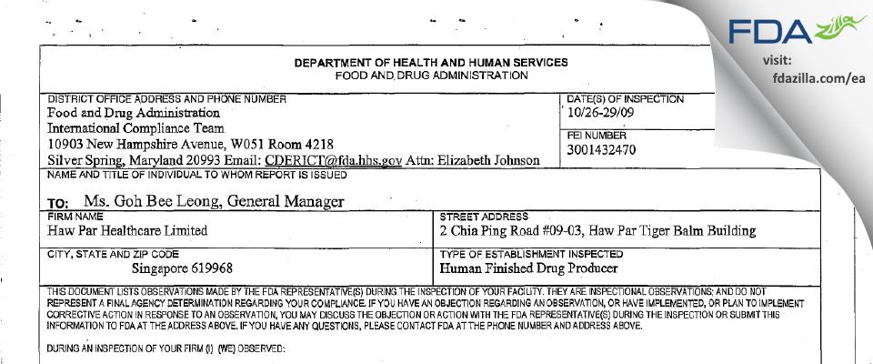 Haw Par Healthcare FDA inspection 483 Oct 2009