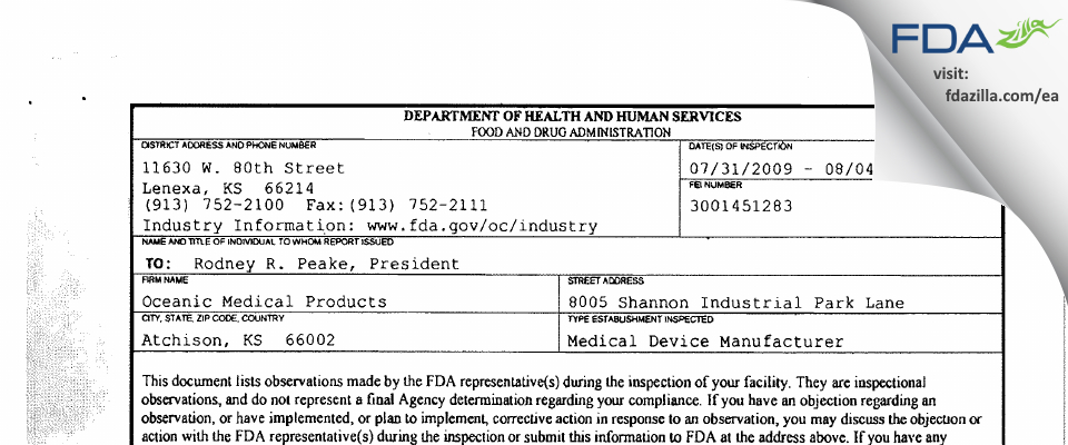 Oceanic Medical Products FDA inspection 483 Aug 2009