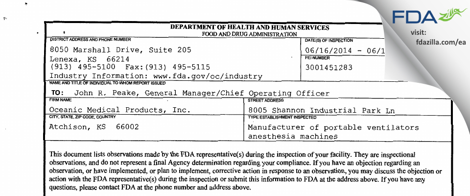 Oceanic Medical Products FDA inspection 483 Jun 2014