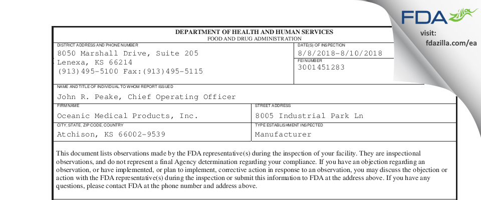 Oceanic Medical Products FDA inspection 483 Aug 2018