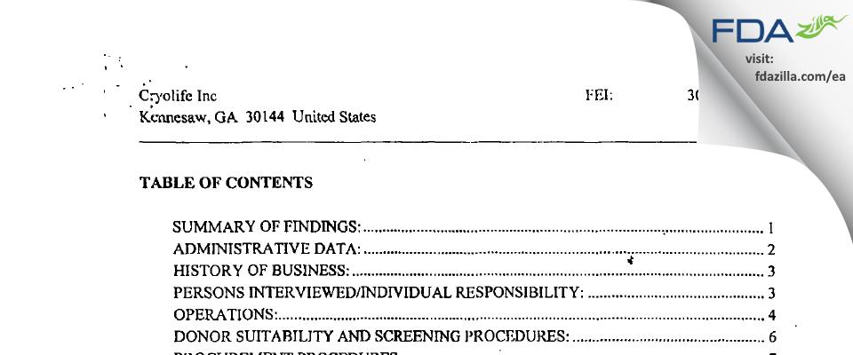 CryoLife FDA inspection 483 Dec 2001