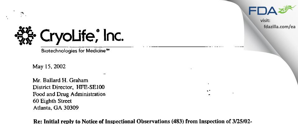 CryoLife FDA inspection 483 Apr 2002