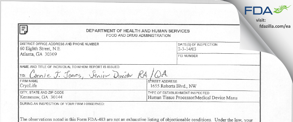 CryoLife FDA inspection 483 Feb 2003