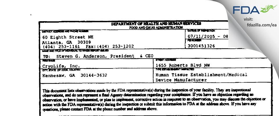 CryoLife FDA inspection 483 Aug 2005