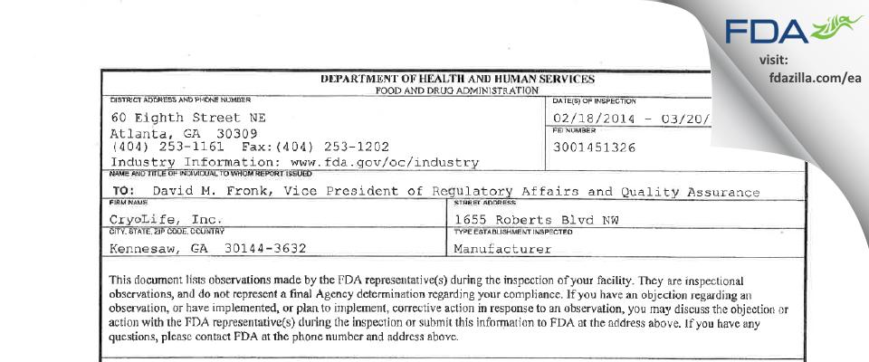 CryoLife FDA inspection 483 Mar 2014