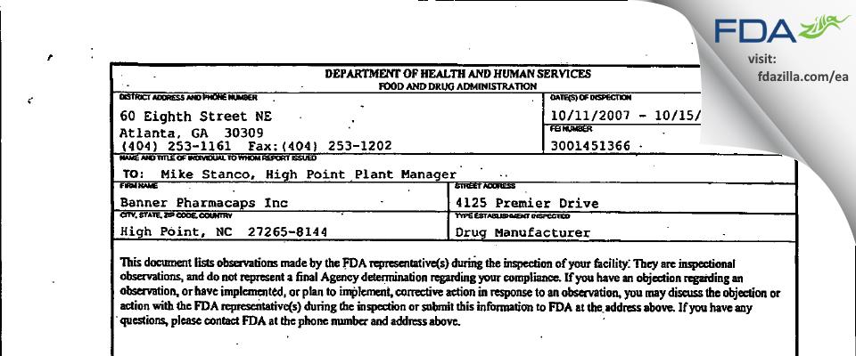 Patheon Softgels FDA inspection 483 Oct 2007