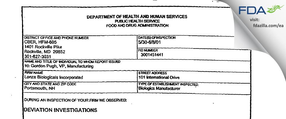 Lonza Biologics FDA inspection 483 Jun 2001