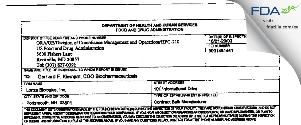 Lonza Biologics FDA inspection 483 Oct 2003