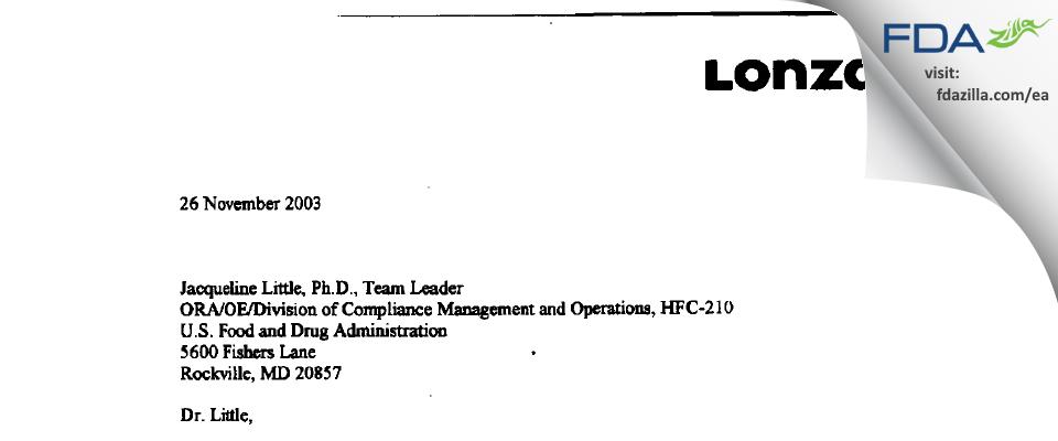 Lonza Biologics FDA inspection 483 Oct 2003