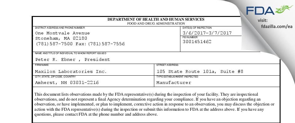 Maxilon Labs FDA inspection 483 Mar 2017