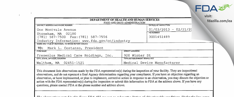 Fresenius Medical Care Renal Therapies Group FDA inspection 483 Feb 2013