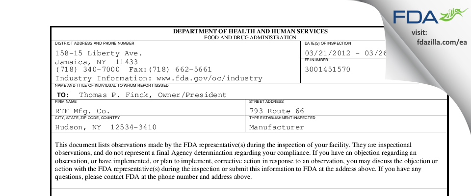 RTF Manufacturing. FDA inspection 483 Mar 2012