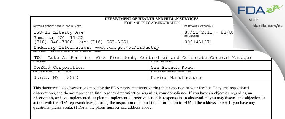 ConMed FDA inspection 483 Aug 2011