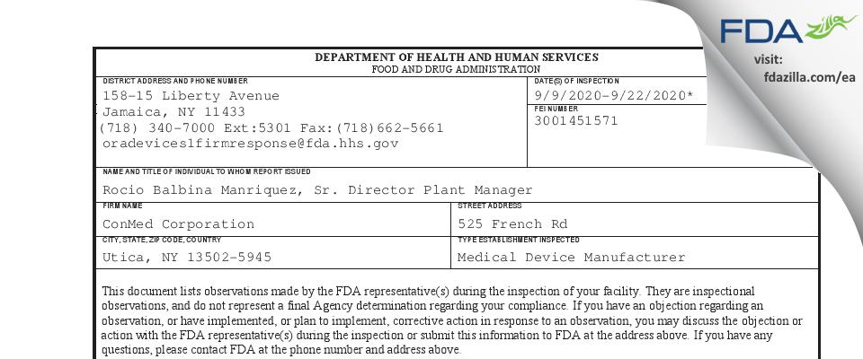 ConMed FDA inspection 483 Sep 2020