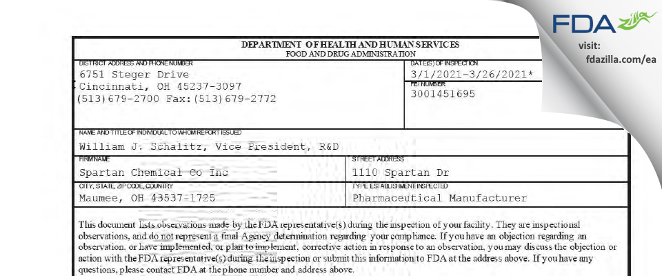 Spartan Chemical Co FDA inspection 483 Mar 2021
