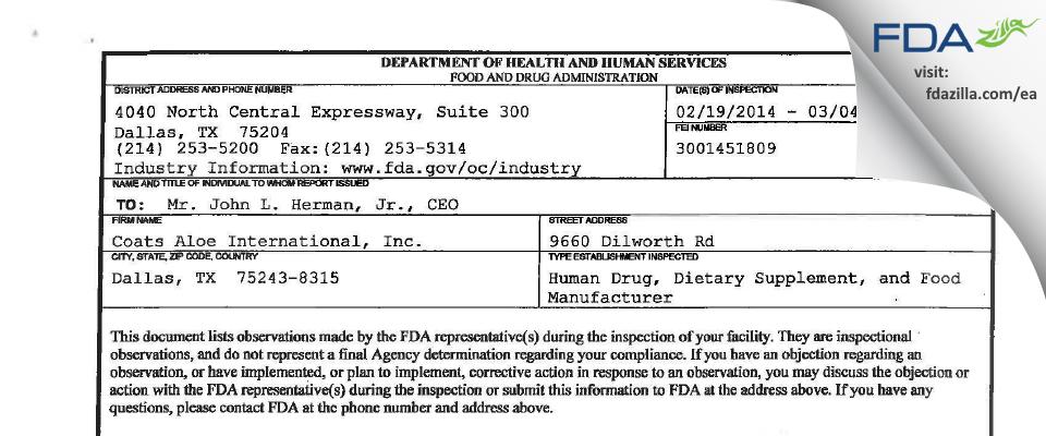 Coats Aloe International FDA inspection 483 Mar 2014