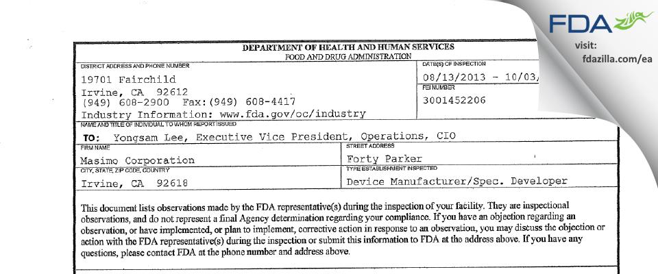 Masimo FDA inspection 483 Oct 2013