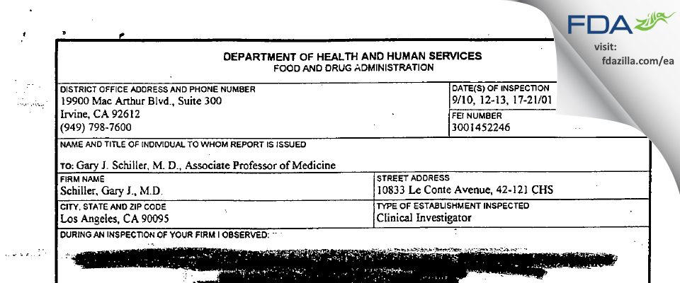 Gary J. Schiller, MD FDA inspection 483 Sep 2001