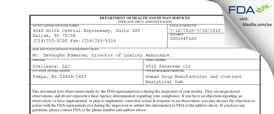 Xcelience FDA inspection 483 Jul 2018