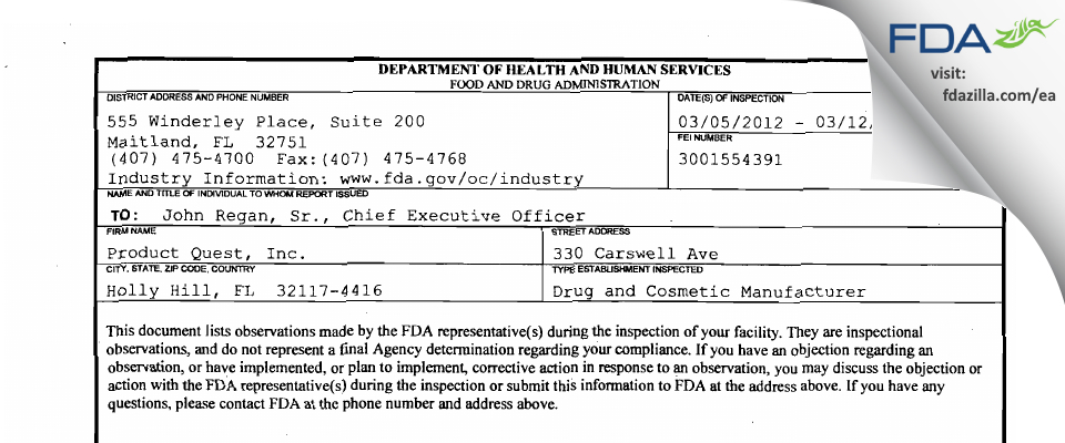 Product Quest Manufacturing FDA inspection 483 Mar 2012