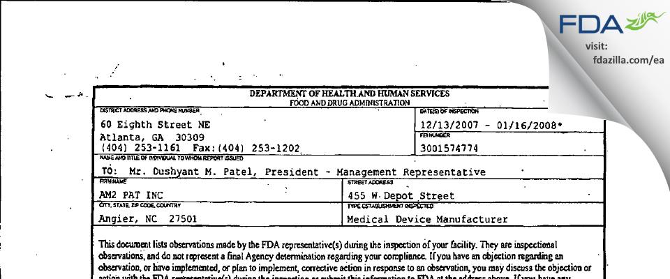 AM2 PAT FDA inspection 483 Jan 2008