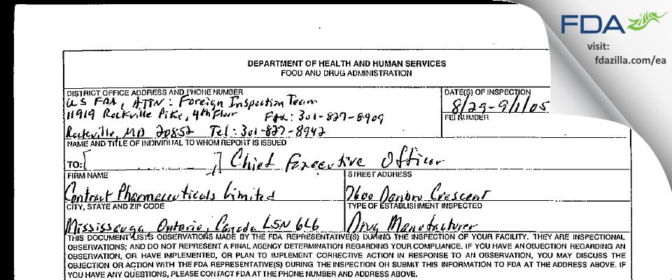 Contract Pharmaceuticals FDA inspection 483 Sep 2005