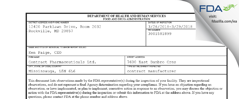 Contract Pharmaceuticals FDA inspection 483 Mar 2018