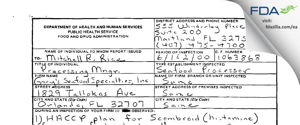 Halpern's Steak and Seafood FDA inspection 483 Jun 2000