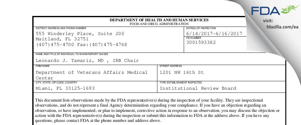 Department of Veterans Affairs Medical Center FDA inspection 483 Jun 2017