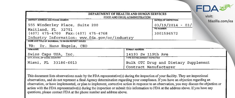 InnovaGel FDA inspection 483 Mar 2014