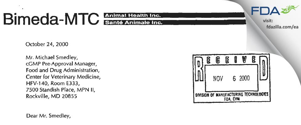 Bimeda MTC Animal Health FDA inspection 483 Sep 2000