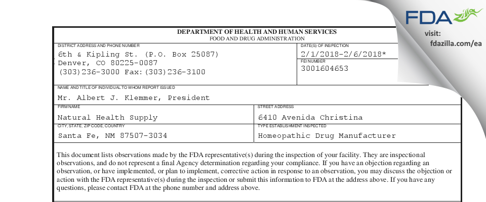 Natural Health Supply FDA inspection 483 Feb 2018