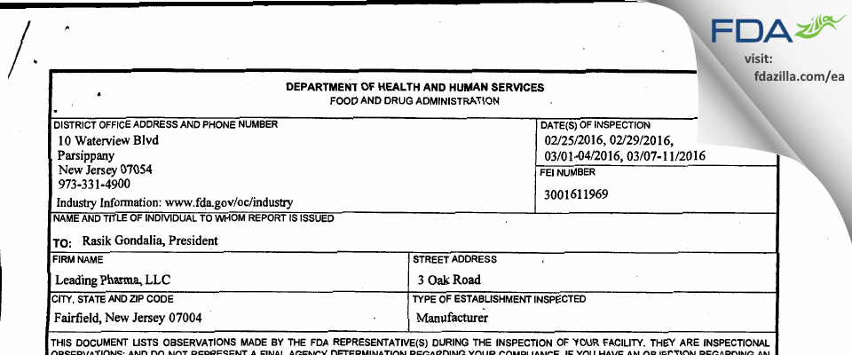 Leading Pharma FDA inspection 483 Mar 2016