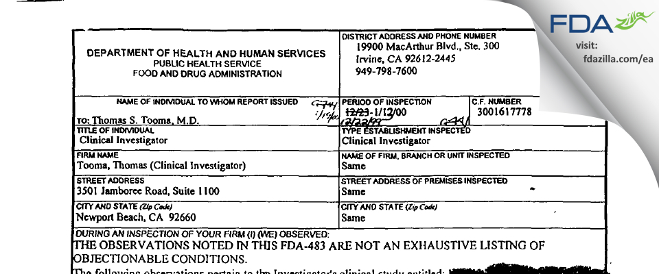 Thomas S. Tooma, M.D. FDA inspection 483 Jan 2000