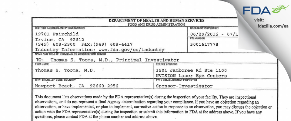Thomas S. Tooma, M.D. FDA inspection 483 Jul 2015
