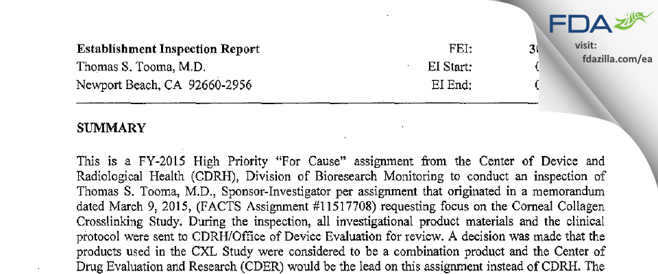 Thomas S. Tooma, M.D. FDA inspection 483 Jul 2015