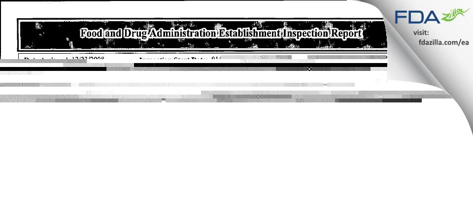 Jubilant HollisterStier General Partnership FDA inspection 483 Feb 2009