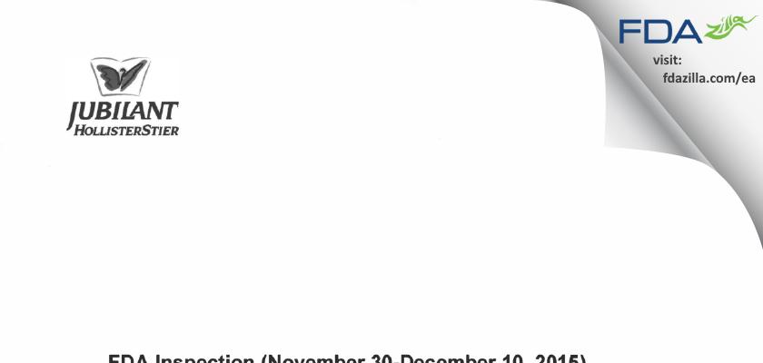 Jubilant HollisterStier General Partnership FDA inspection 483 Dec 2015
