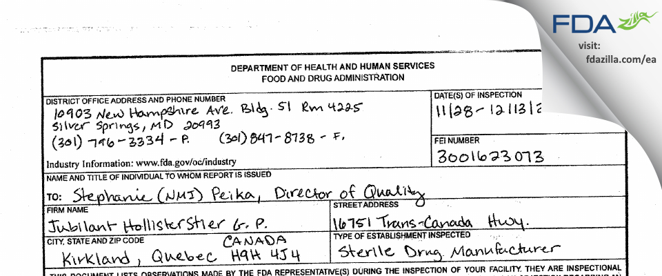 Jubilant HollisterStier General Partnership FDA inspection 483 Dec 2016