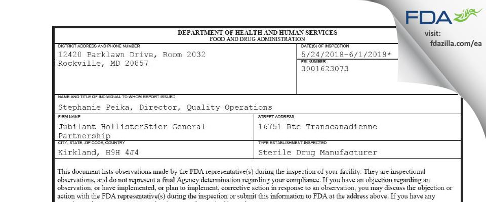 Jubilant HollisterStier General Partnership FDA inspection 483 Jun 2018