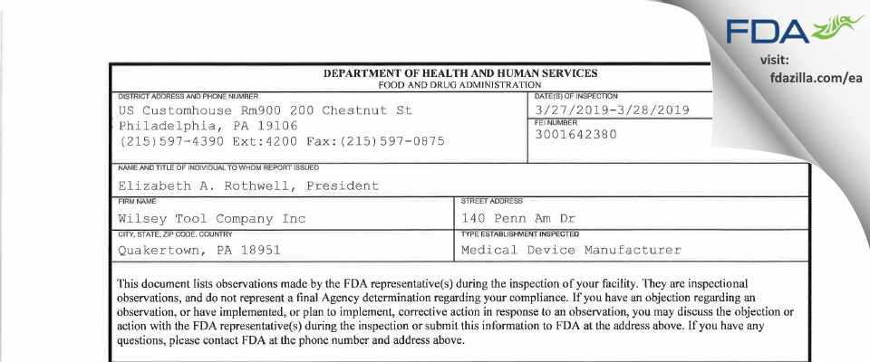Wilsey Tool Company FDA inspection 483 Mar 2019