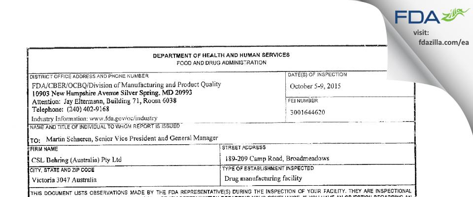 CSL Behring Australia Proprietary FDA inspection 483 Oct 2015