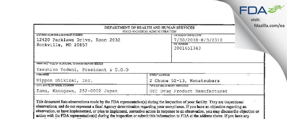 Nippon Shikizai FDA inspection 483 Aug 2018