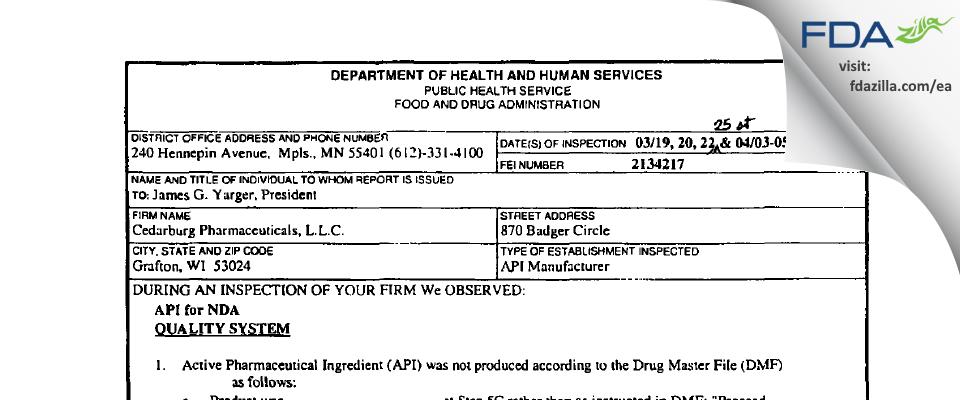 Cedarburg Pharmaceuticals FDA inspection 483 Apr 2002